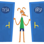 cartoon brown dog with green shirt on and 2 blue doors next to him with TFSA and RRSP written on them