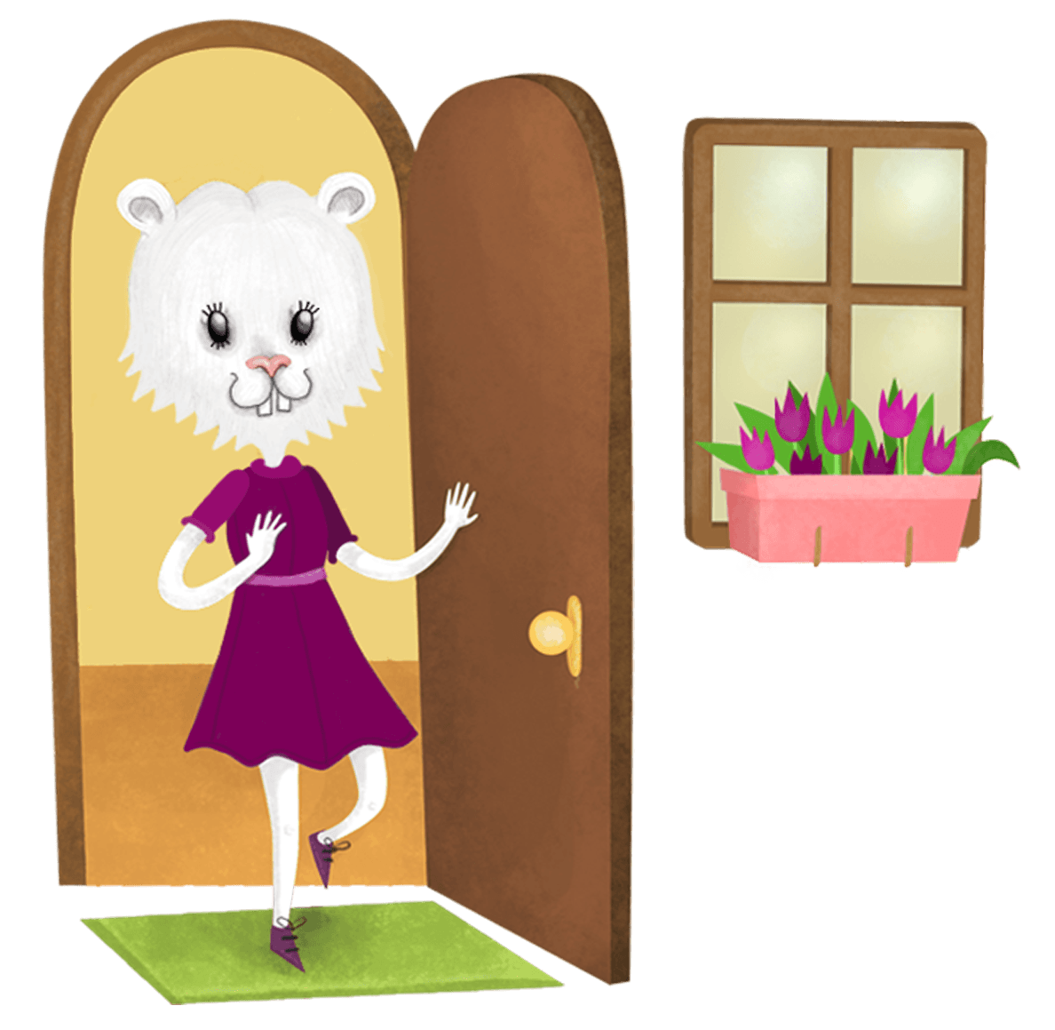 cartoon white bunny with purple dress on walking through a door