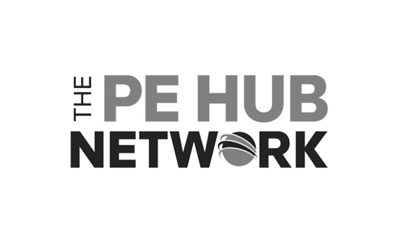 The PE Hub network logo in grey