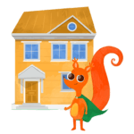 cartoon orange squirrel with green cape standing infront of a yellow house with blue windows and brown roof