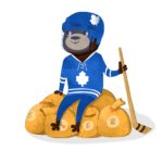 cartoon brown bear with toronto maple leafs jersey and helmet on in blue holding a hockey stick sitting on a pile of money